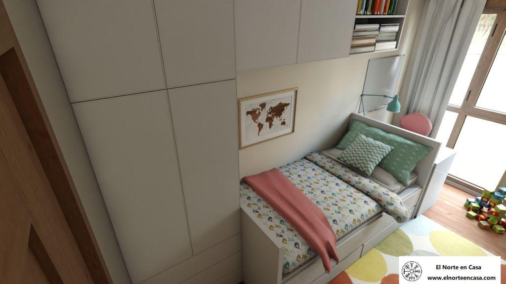 Cama estilo puente con muebles de Ikea para dormitorio infantil