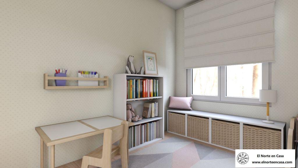 Zona de lectura y dibujo del dormitorio para niña