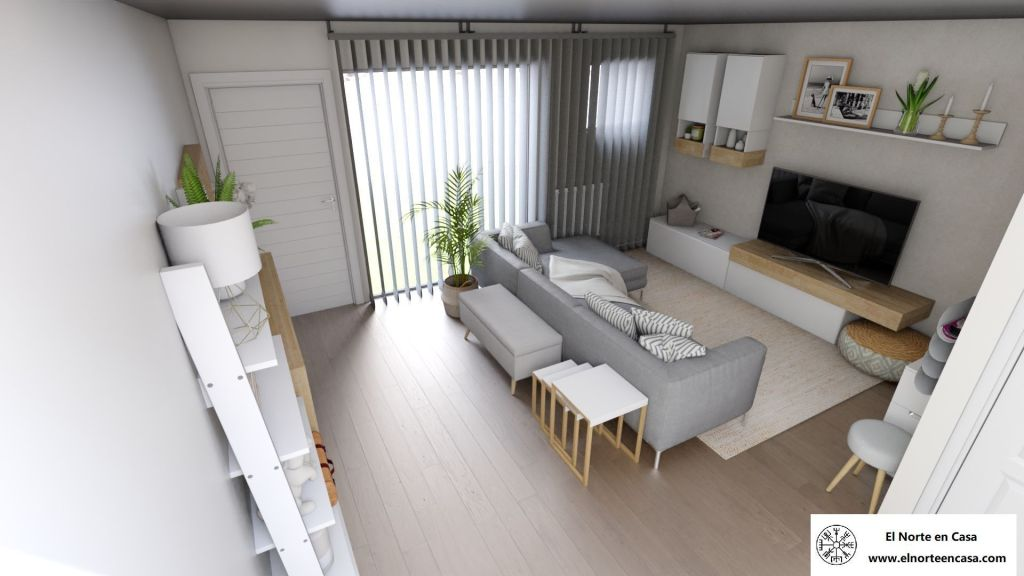 Salón moderno de inspiración nórdica