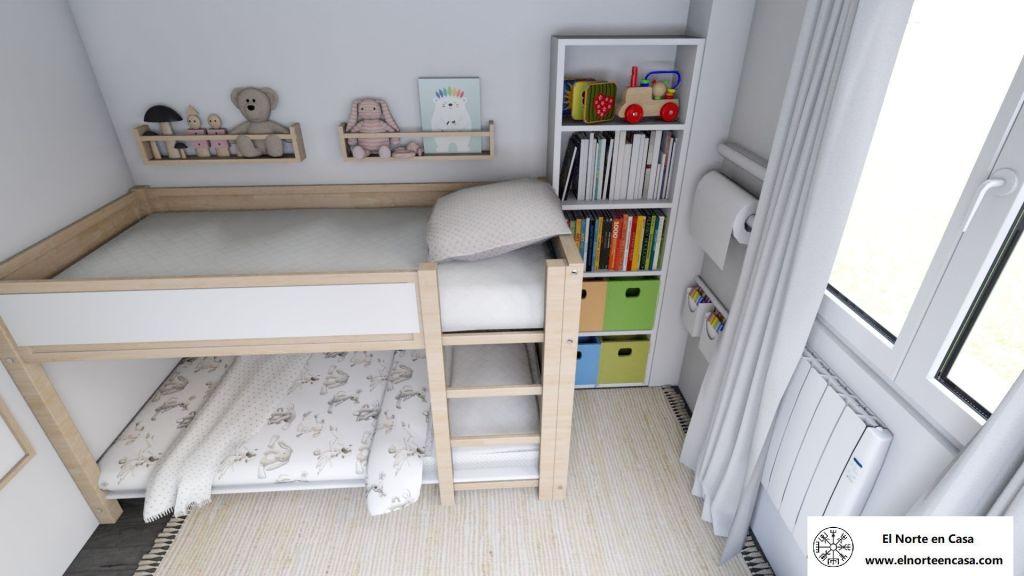 Dormitorio pequeño con cama Kura de Ikea