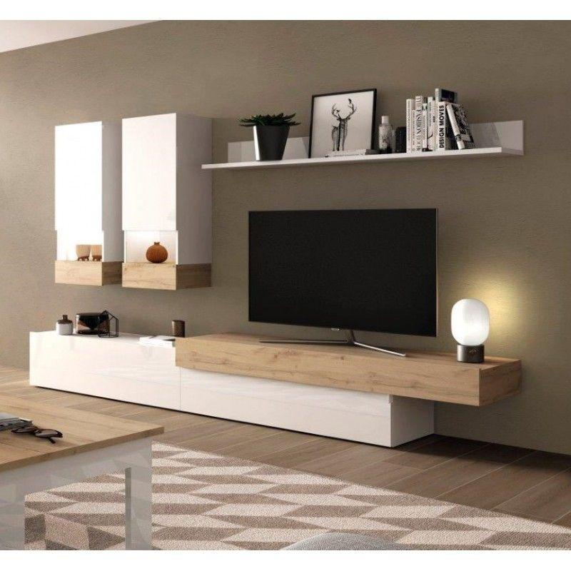 Mueble de Tv en blanco y madera