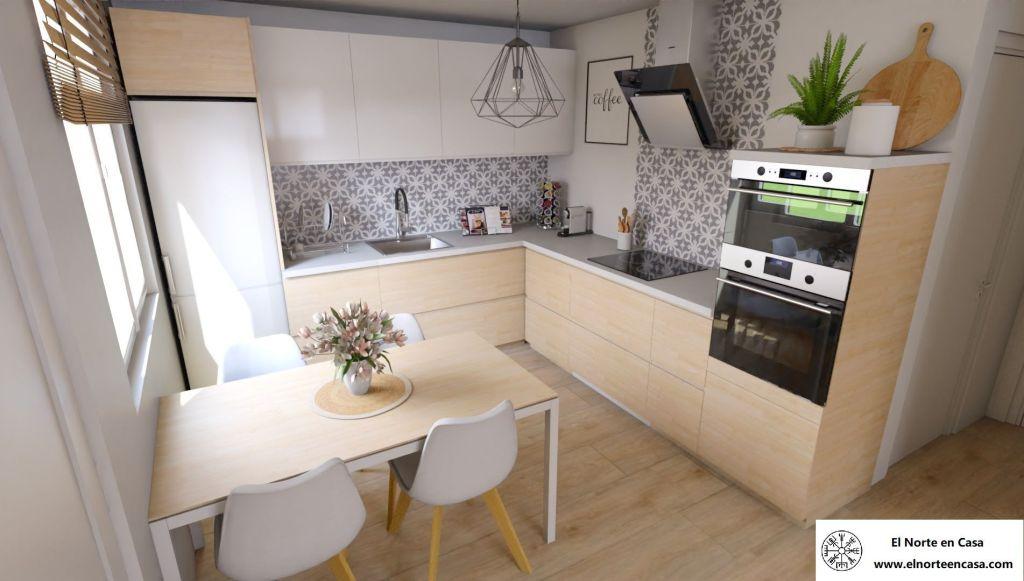 cocina acogedora  en casa de estilo escandinavo