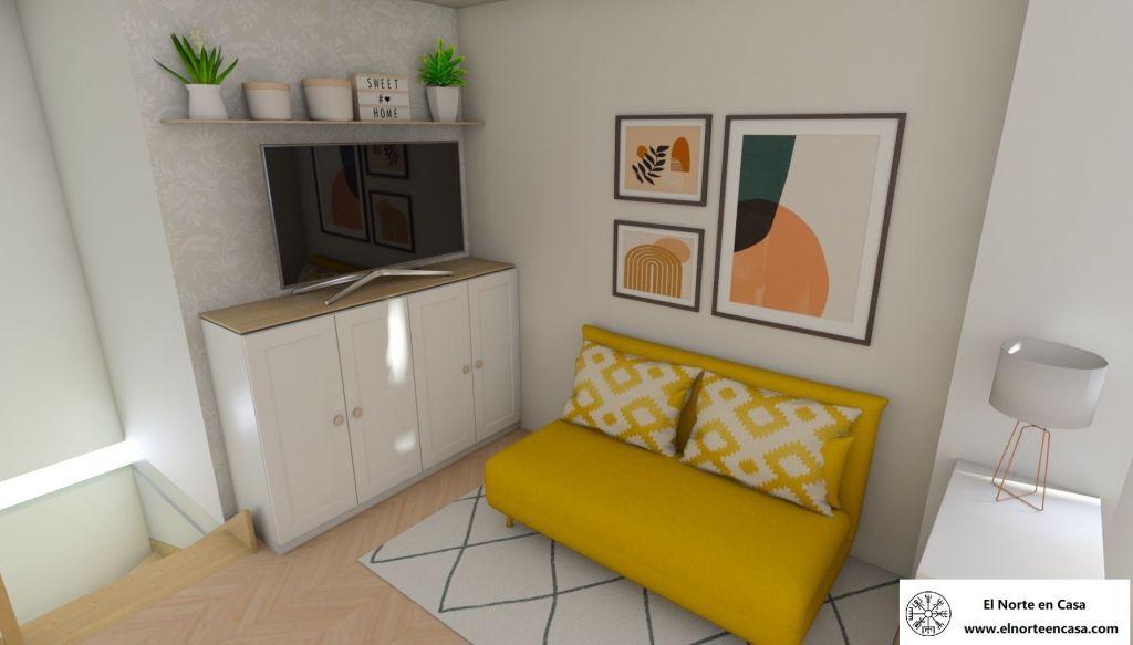 zona de sala y cuarto de invitados