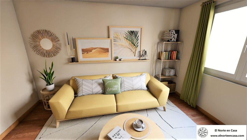 Salón colores cálidos sofá amarillo