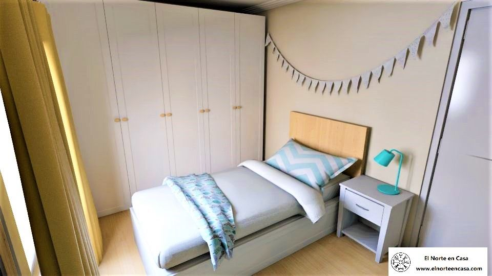 Dormitorio infantil con mucho almacenaje en turquesa y ocre