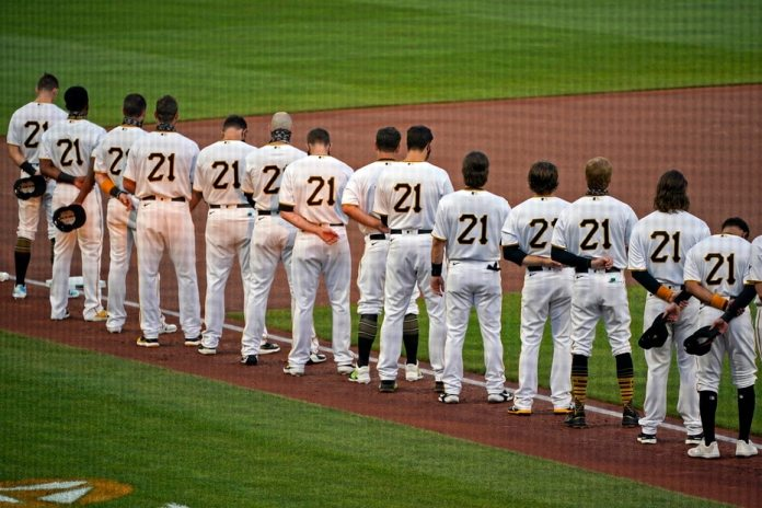 Members of the Pittsburgh Pirates during a ceremony in honor of Roberto Clemente at PNC Park in Pittsburgh.