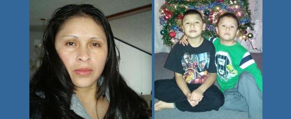 Dubilia Vicente, fue arrestada junto a sus hijos de 5 y 7 años.