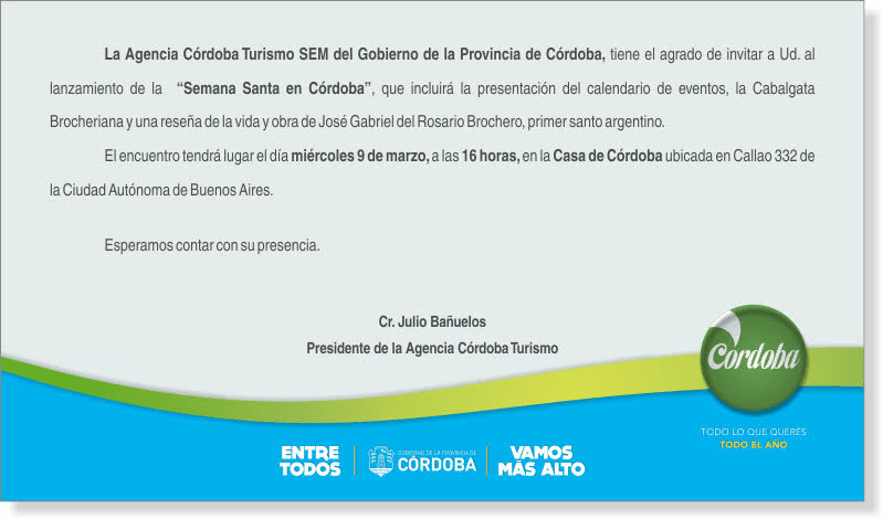 Turismo Religioso - Casa de la Provincia de Cordoba en Buenos Aires - Cabalgata Brocheriana -