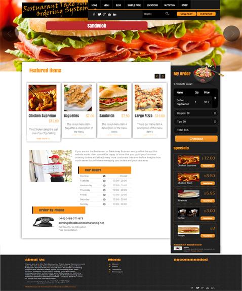 Restaurant - Take Away Online Ordering System Website