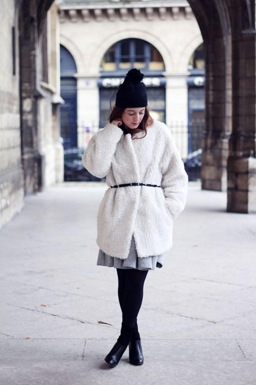 manteau moumoute blanc
