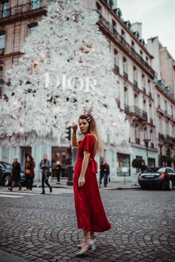 robe velours rouge