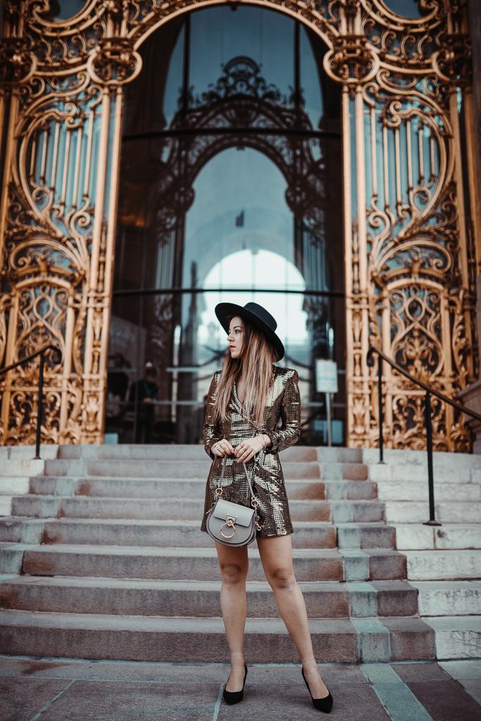robe blazer Zara dorée