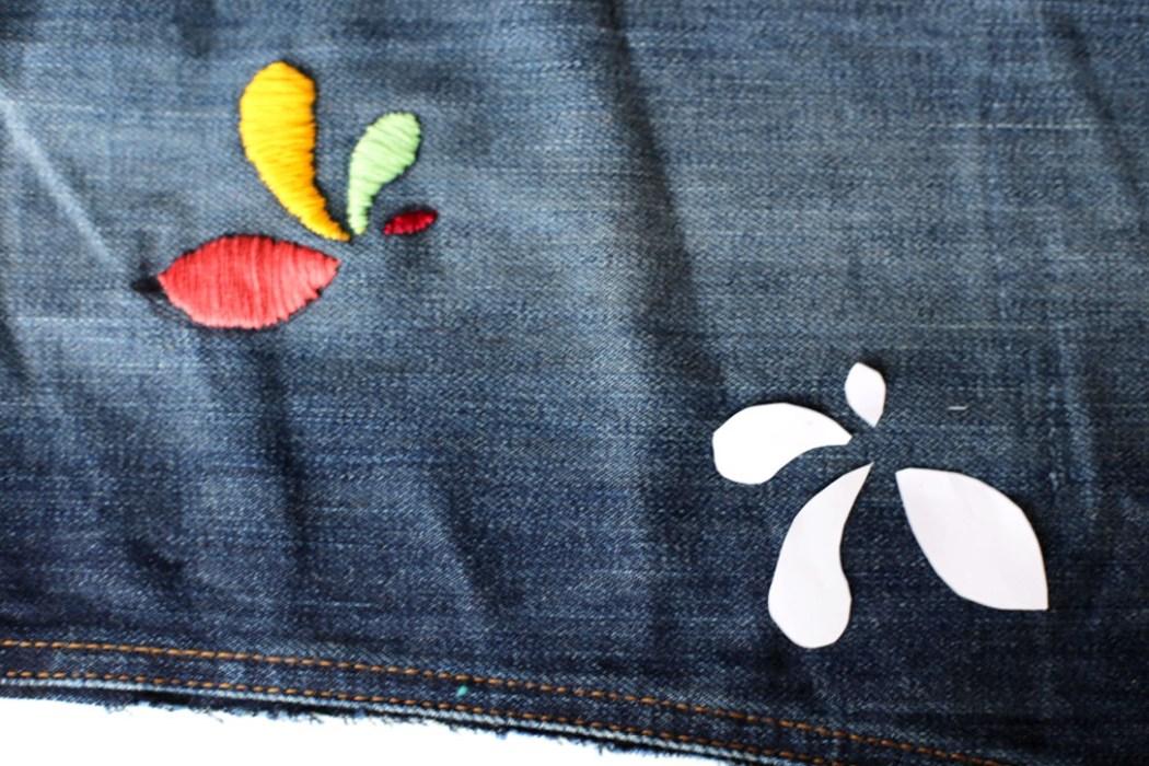 160905 broderie couture pochette jeans recup Ma pochette brodée pour faire durer lété (spécial récup)