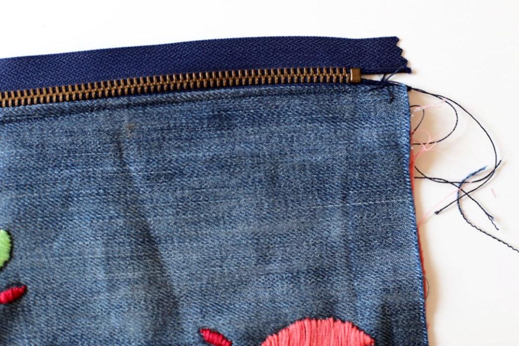 160905 trousse diy jeans broderie couture Ma pochette brodée pour faire durer lété (spécial récup)