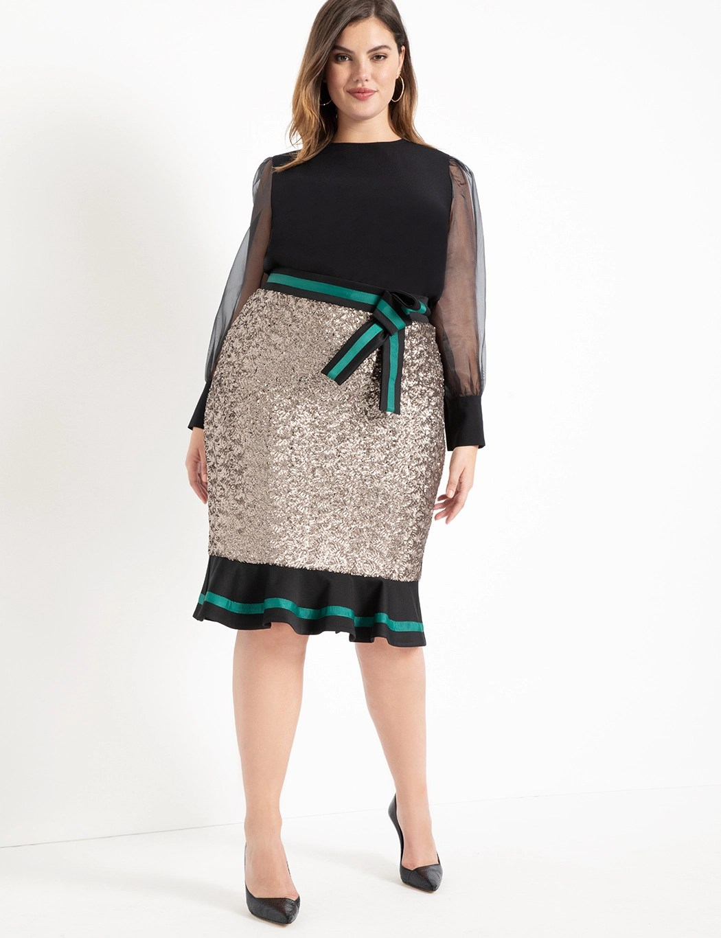Sequin Column Skirt With Flounce 7