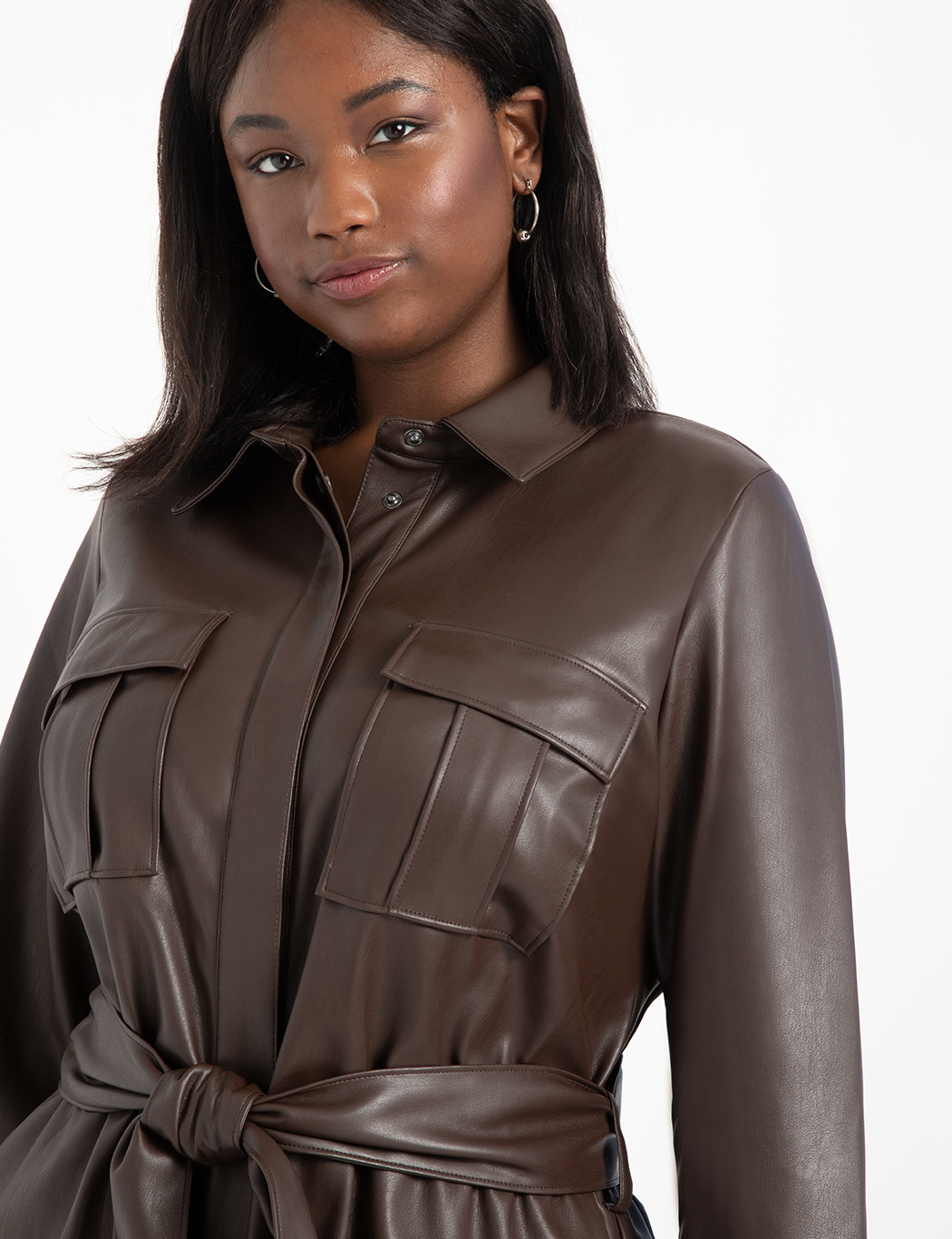 Faux Leather Jumpsuit With Button Front
