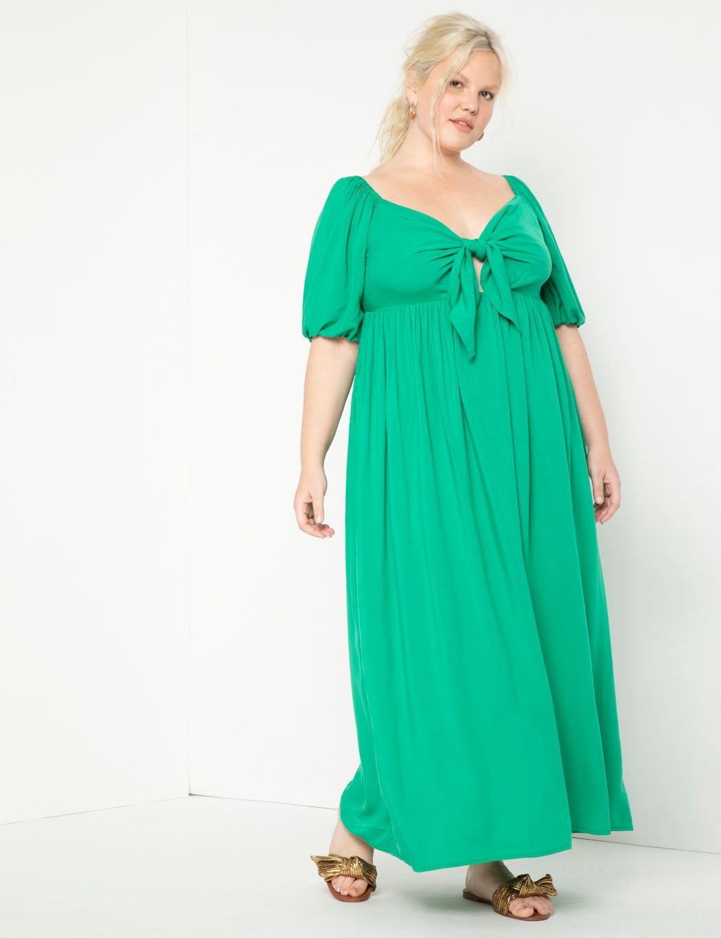 Tie Front Full Skirted Maxi Dress
