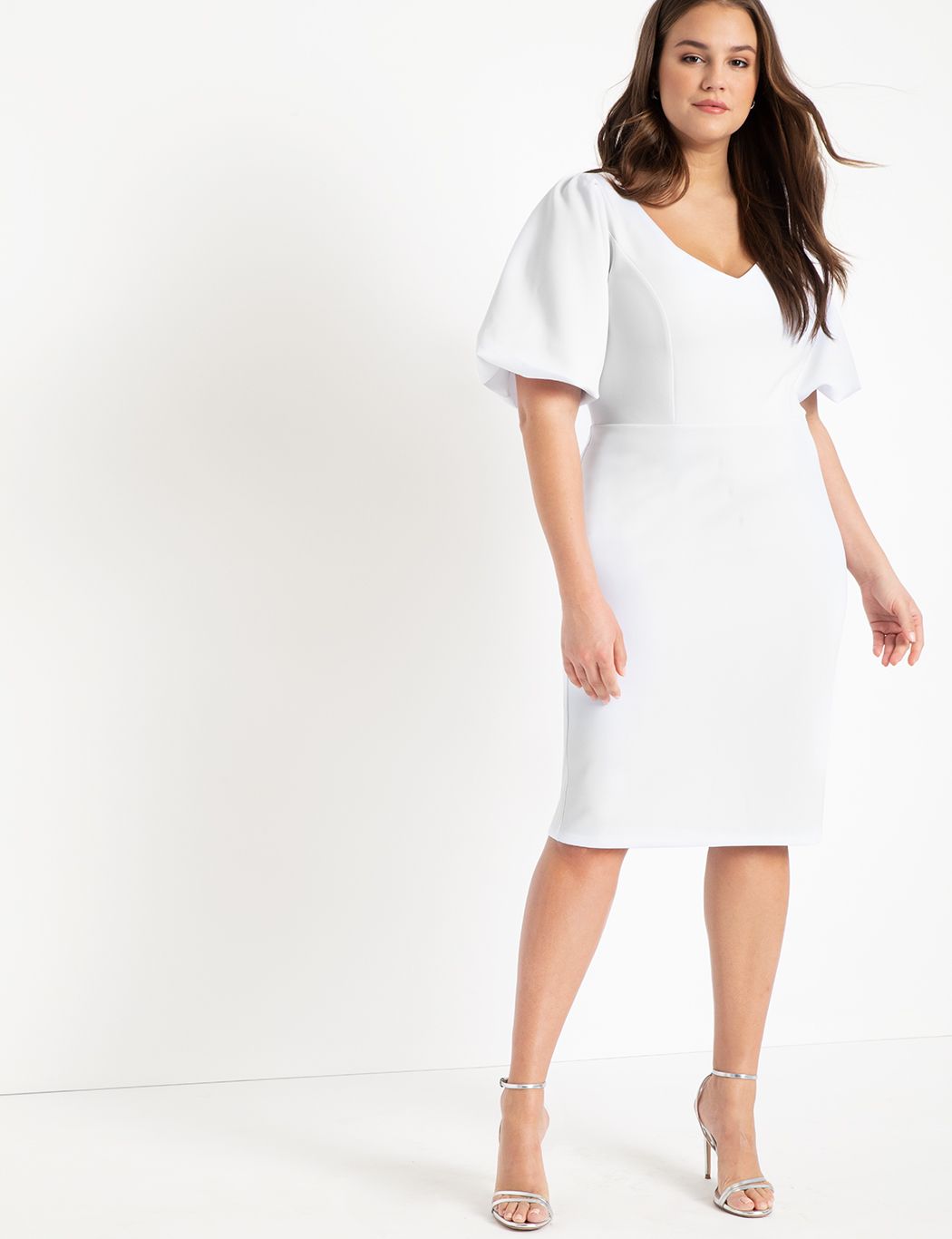 Puff Sleeve Scuba Dress