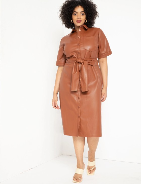 Faux Leather Trench Dress 4