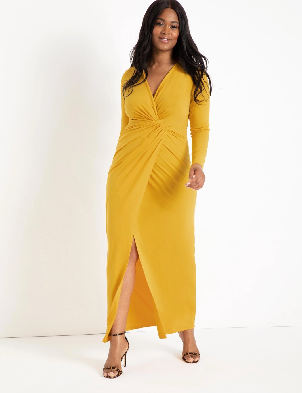 Twist Front Long Sleeve Gown 3
