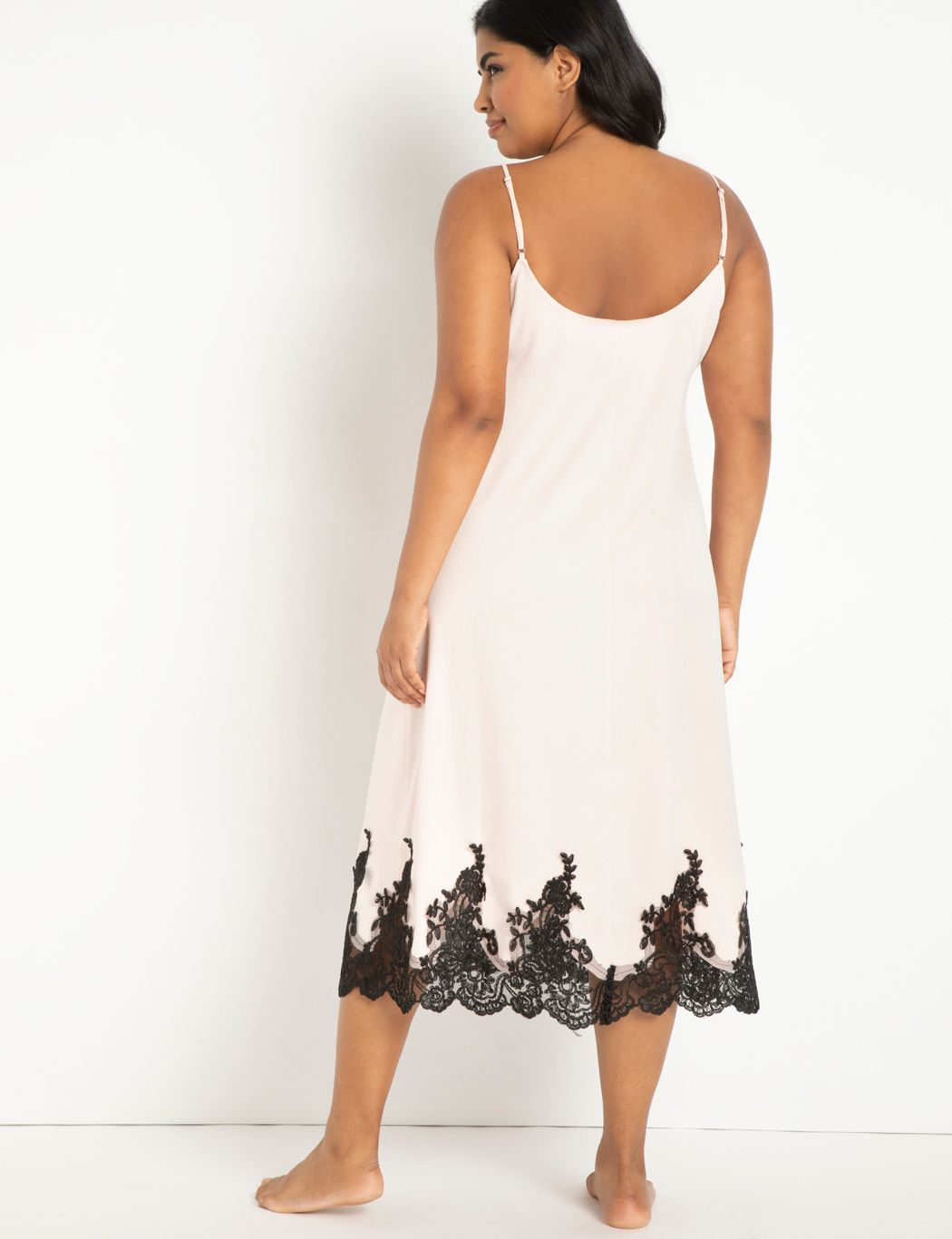Satin Slip Dress with Lace Detail