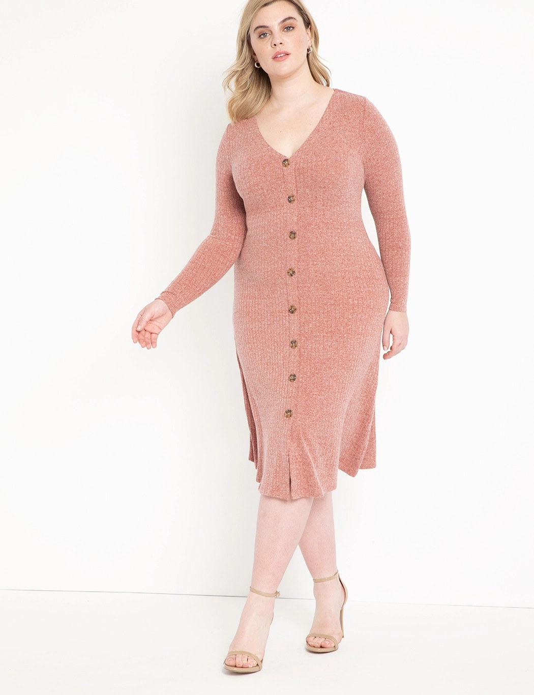 Long Sleeve Button Front Dress 9