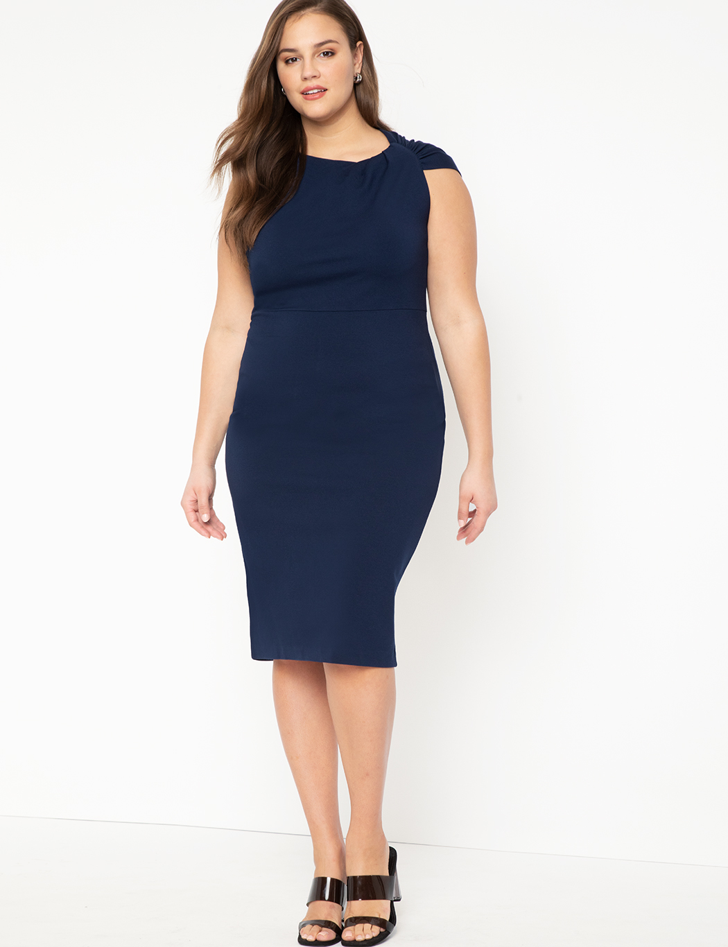 Twisted Shoulder Sheath Dress 8