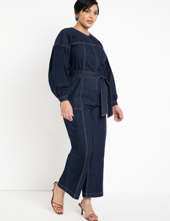 Puff Sleeve Denim Jumpsuit 2