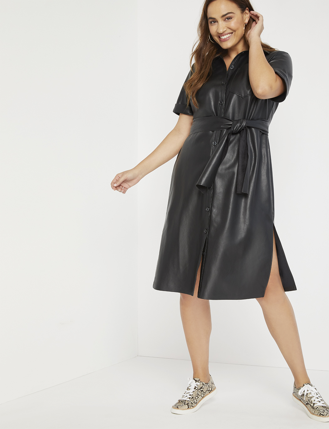 Faux Leather Trench Dress 5