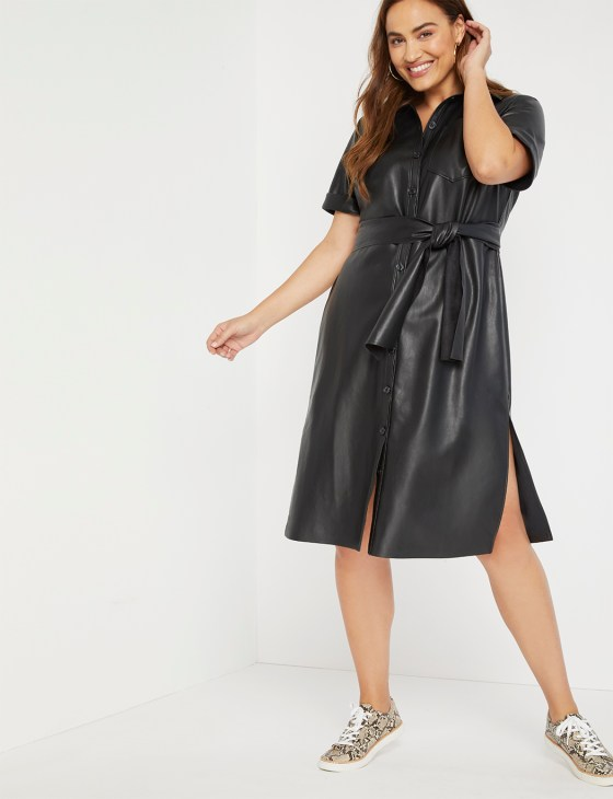 Faux Leather Trench Dress 1