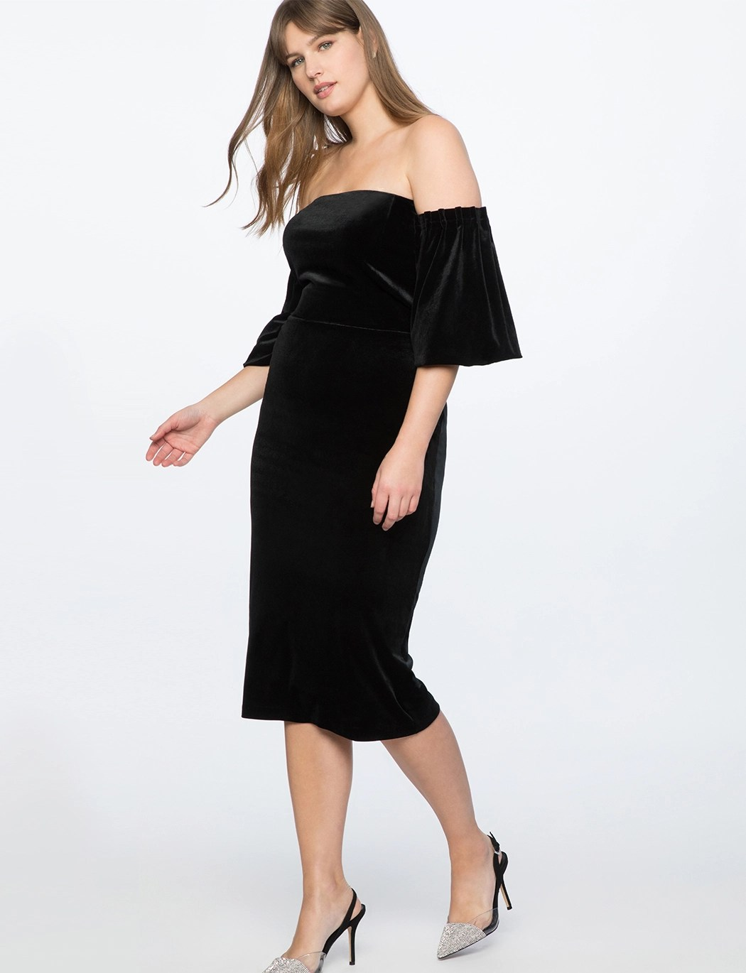 Strapless Velvet Dress with Full Sleeves 8