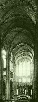 Earthlore Gothic Architecture: Quadripartite rib vault of nave at St-Denis, Paris.