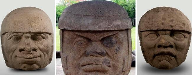 cabezas olmecas mutiladas