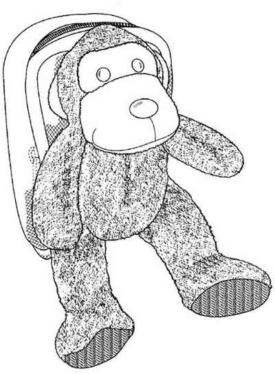 Patente número D486639. Una mochila para la cámara de fotos, con forma de osito de peluche.