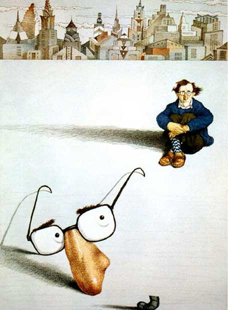Woody Allen, visto da Tullio Pericoli