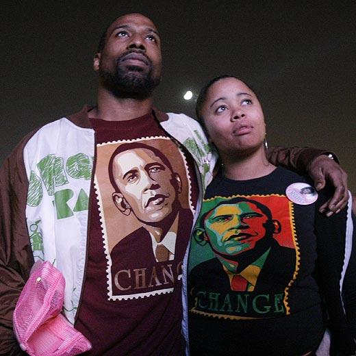 Dos partidarios de Barack Obama
