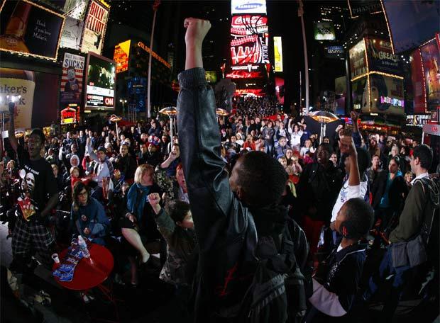 Times Square, con Obama