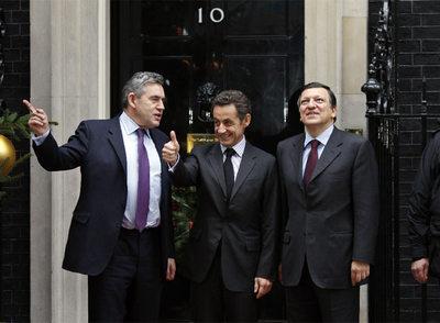 Gordon Brown, Nicolas Sarkozy y José Manuel Durão Barroso