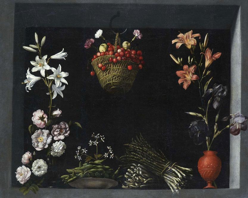 'Bodegón con flores, hortalizas y un cesto de cerezas'