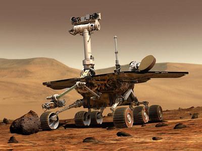 Ilustración del robot 'Spirit' en la superficie de Marte