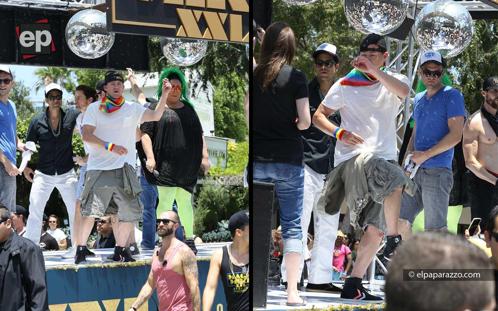 Tatum y sus compañeros de elenco promocionando Magic Mike XXL.