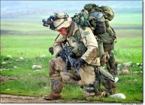 blog picture of soldier kneeling down carrying all his equipment