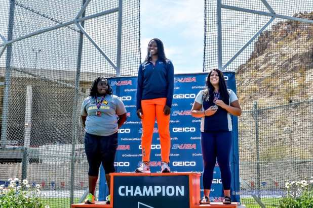 UTEP's Samantha Hall takes the gold medal in the Women's Discus Throw at 2017 CUSA Track and field meet, Kidd Field El Paso Texas