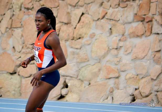 UTEP's Tobi Amusan takes the 100 meter Hurdles Gold medal at the 2017 CUSA Track and field meet, Finals Kidd Field El Paso Texas