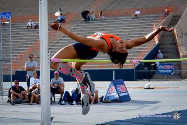 UTEP's Izzie Ramsay at the Women's HIgh Jump at the 2017 CUSA Outdoor Track & Field championships at Kidd Field El Paso Texas