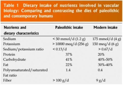 Dietary Intake of Nutrients Table