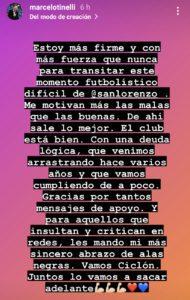 Posteo de Instagram de Tinelli