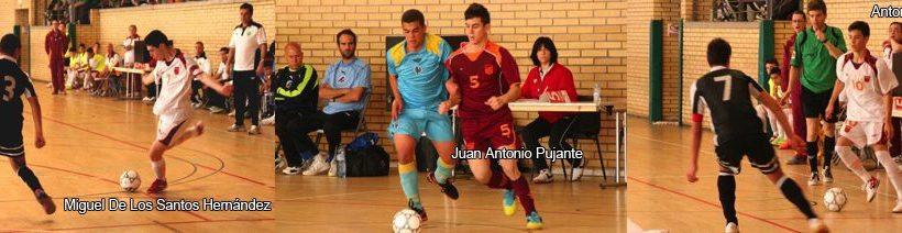 Tres jugadores Cadetes de Aljucer ElPozo, Campeones de España con Murcia.