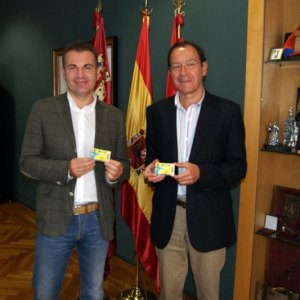 El Alcalde de Murcia D. Miguel Ángel Cámara y el concejal de Deportes y Turismo D. Miguel Cascales