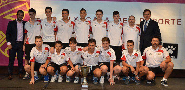 Los equipos Benjamin, Alevín, Cadete y Juvenil, premiados en la Gala FFRM 2014